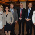 Wendy Coss, Karla Guerrero, Roni Rubinstein, Yariv Levin, ministro de Turismo de Israel; Jonathan Peled, embajador de Israel, y Mariana Temiño, de la agencia Links