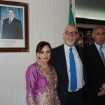 Farida y Rabah Hadid, con Jorge Álvarez Fuentes, director para África y Medio Oriente de la Secretaría de Relaciones Exteriores.