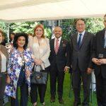 Maité de Reyes, Elsa Espinosa, Patricia Eugenia Cárdenas, embajadora de Colombia; Arnulfo Valdivia, Andrian Yelemessov, embajador de Kazajstán, y Roberto Reyes.