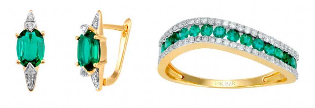 Aretes de oro amarillo 14K, 4 puntos de diamante y esmeralda $9,825.00 Anillo de oro amarillo 14K, 19 puntos de diamante y 40 puntos de esmeralda $19,935.00