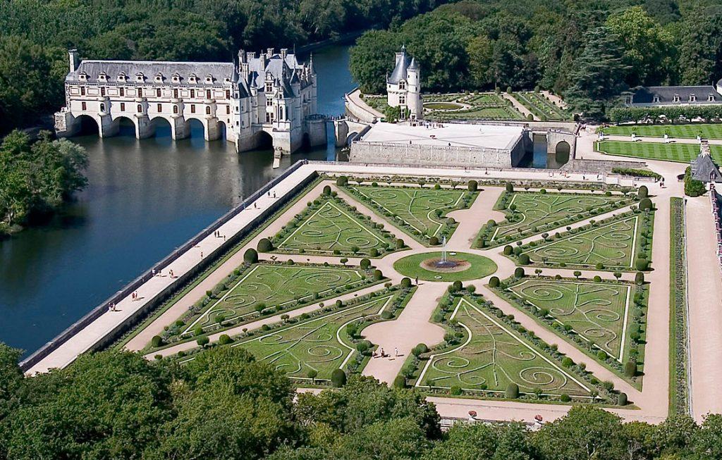 Vista aérea del Chateau de Chenoncueau y sus jardines