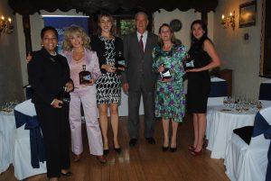 Sandra Grant, embajadora de Jamaica; Wendy Coss, Cristina Casado, gerente internacional de Flor de Caña; Pedro Núñez, embajador de Cuba; Tamara Hawkins, embajadora de Nicaragua, y Arlene Zavala.