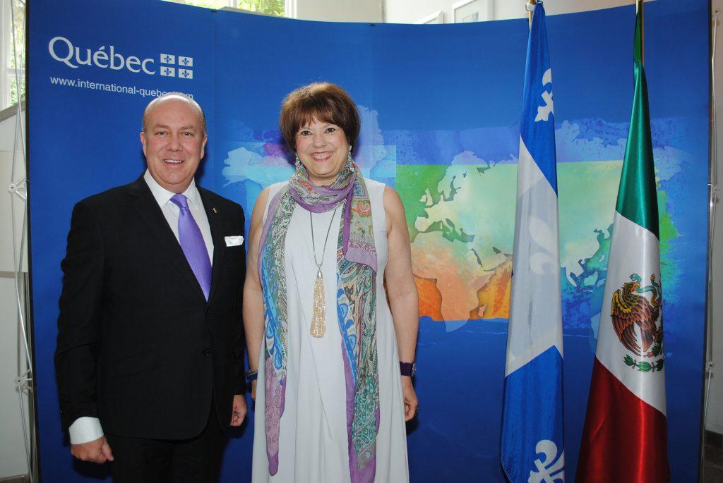 Eric R. Mercier, delegado general de Quebec en México, y Helene David, ministra responsable de la Educación Superior en Quebec. Revista Protocolo Copyright©