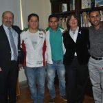 Gabriel Poloniecki, de la Embajada de Francia; los atletas Said Pulido y Jesús González, Emy Ritt, directora de Relaciones Internacionales de los Gay Games de París 2018, y Rafael Villanueva