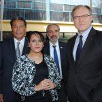 Andrian Yelemessov, embajador de Kazajstán; Aidé Reynoso, Zurav Eristavi, embajador de Georgia, y Ruslan Spirin, embajador de Ucrania