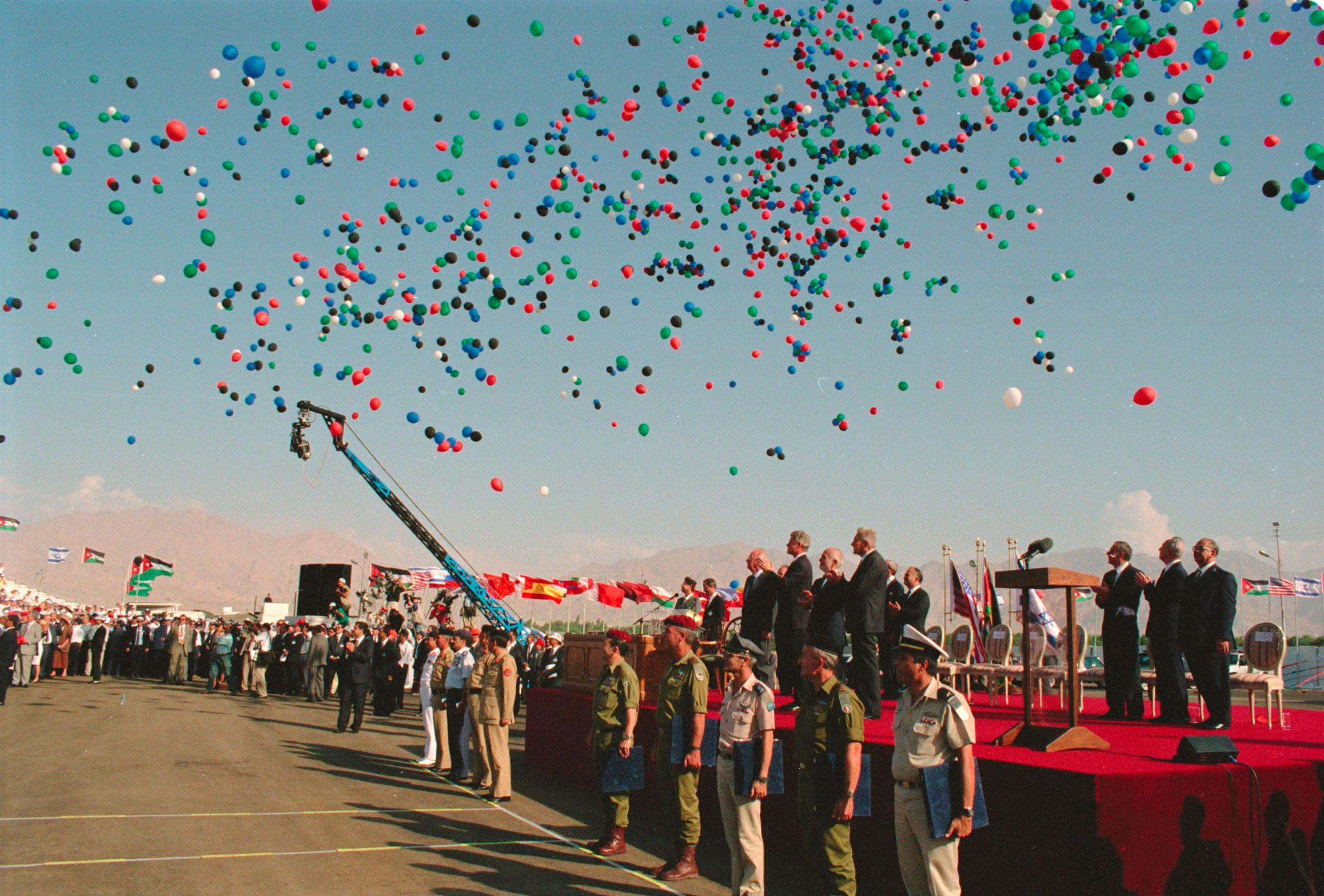 Celebración del tratado de paz entre Israel y Jordania