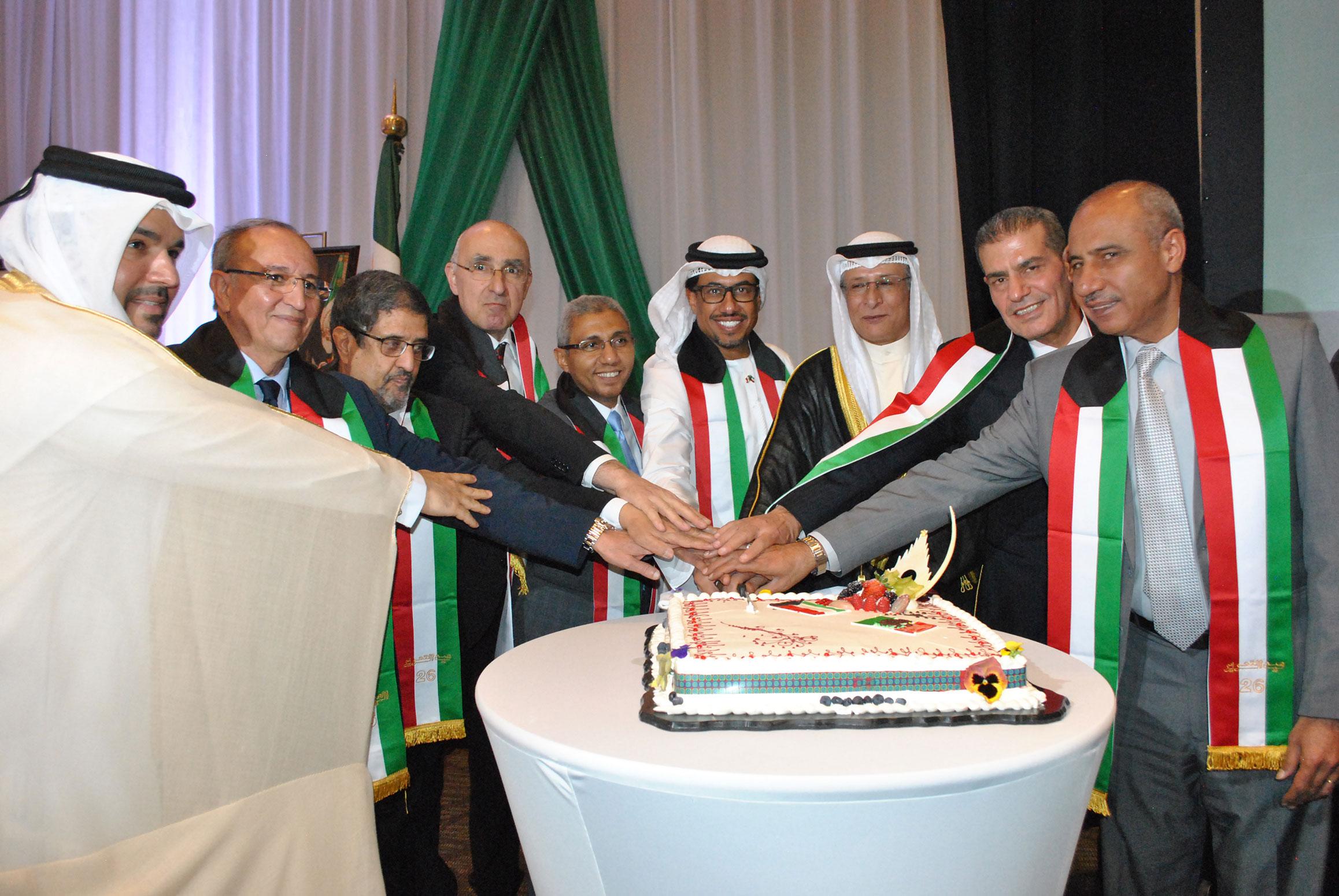 El embajador de Qatar, embajador de Armenia, embajador de Libia, embajador de Argelia, embajador de Egipto, embajador de los Emiratos Árabes Unidos, Muteb Saleh F. Almutoteh, embajador de Kuwait; embajador de Jordania y embajador de la Delegación especial de Palestina