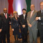 Alejandro Ramos, Leovigildo da Costa e Silva, embajador de Angola; Wendy Coss, Akira Yamada, embajador de Japón; Mark Mcguiness y Ruslan Spírin, embajador de Ucrania
