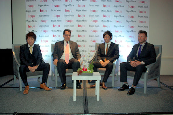 Yu Fukumoto, director de negocios internacionales de Hoyu; Mauricio Flegmann, director para Bigen Men's; Naoya Adachi y Javier Merenda, estilista y consultor de imagen para Bigen Men's en México