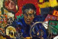 Alberto Gironella. Retrato de Octavio Paz. 1985. Óleo sobre tela y una puerta. Colección particular
