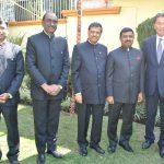Vipulkumar Mesariya, M. R. Quereshi, Asutosh Kumar Agrawal, Muktesh Pardeshi, embajador de la India, y Andrian Yelemessov, embajador de Kazajstán