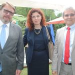 Hans Christian Kint, embajador de Bélgica; Beata Wojna, embajadora de Polonia, y Louis José Touron, embajador de Suiza. Revista Protocolo Copyright©