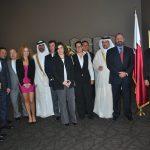 Integrantes del grupo Tres Fronteras del Caribe con Fahad Hamad S. M. al Eida y Ahmed Abdulla A. A. Al-Kuwari, embajador de Qatar
