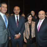 Abdulkarim Mansoor Obeidat, embajador de Jordania; Mohamed A. I. Saadat, embajador de la Delegación Especial de Palestina, con Imelda Widen y Eduardo Roldán