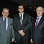 Petros Panayotopoulos, embajador de Grecia; Alejandro Macías y Mustafá Oguz Demiralp, embajador de Turquía