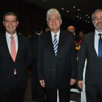 Ibrahim Abdulkarim Mansoor Obeidat, embajador de Jordania; Arturo Romero Duarte Ortiz, embajador de Guatemala, y Zurav Eristavi, embajador de Georgia